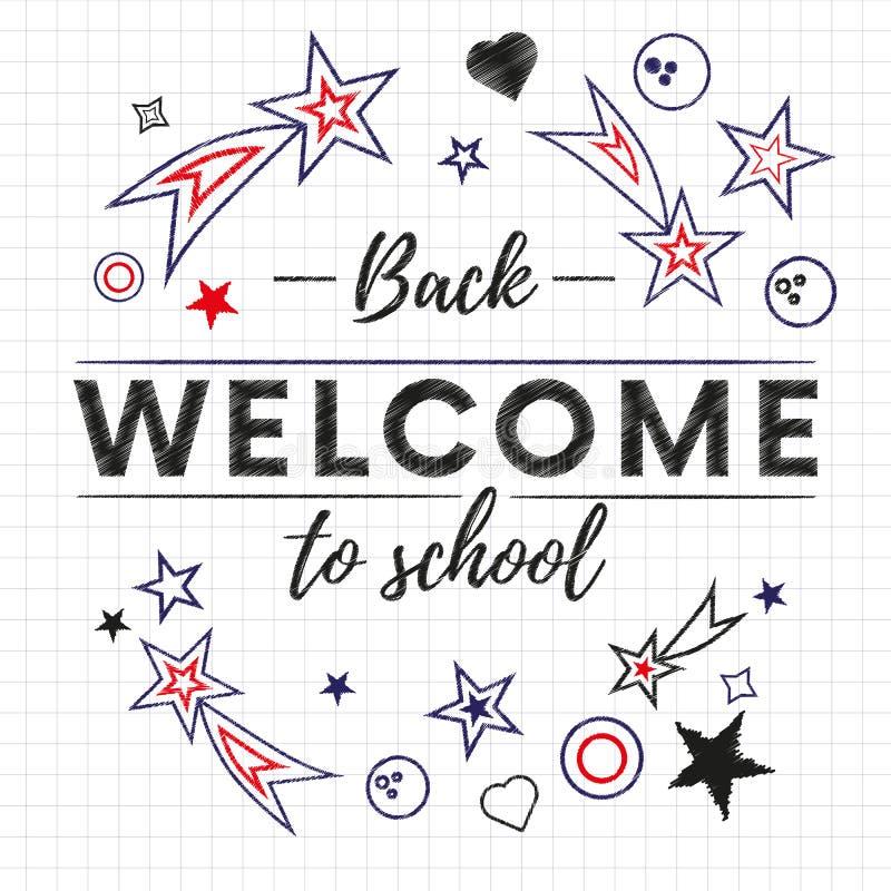 回到学校课文横幅的欢迎在与红色和蓝星和标志的白皮书背景中 向量 库存例证