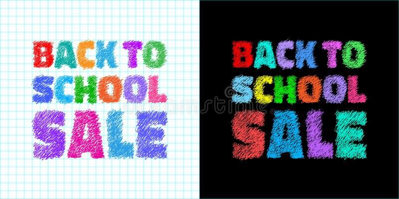 回到学校销售五颜六色的明亮的横幅 给的销售与笔的手拉的文本做广告在学校笔记本背景 皇族释放例证
