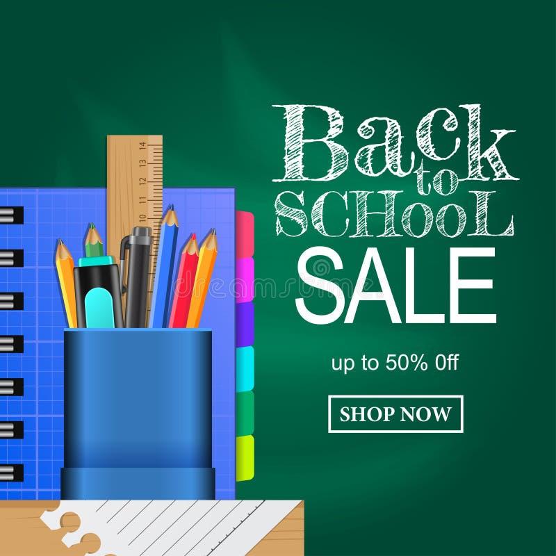回到学校销售提议模板的欢迎 否决与固定式和书的案件 皇族释放例证