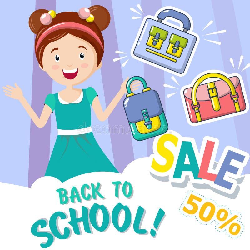 回到学校销售概念背景,动画片样式 皇族释放例证