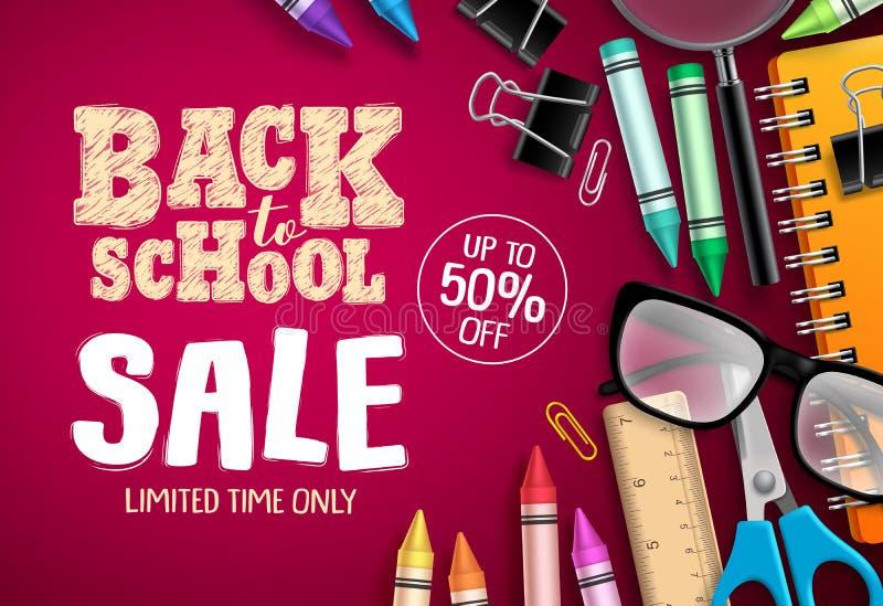 回到学校销售横幅传染媒介设计在红色背景中与学校用品 向量例证