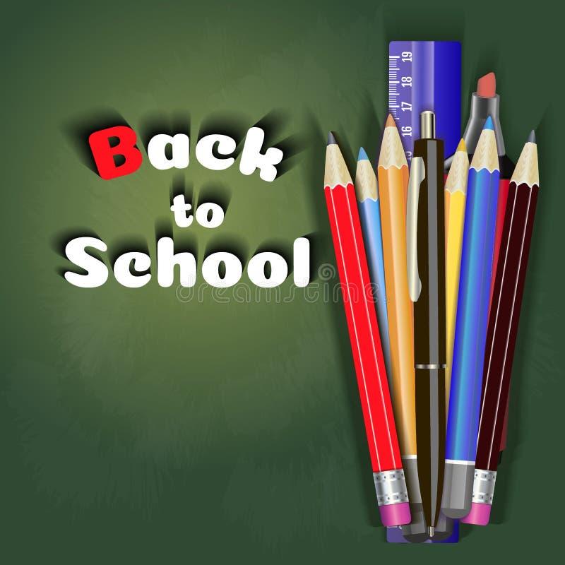 回到学校销售横幅传染媒介设计在与学校项目和对象的红色背景中商店的打折促进 库存例证