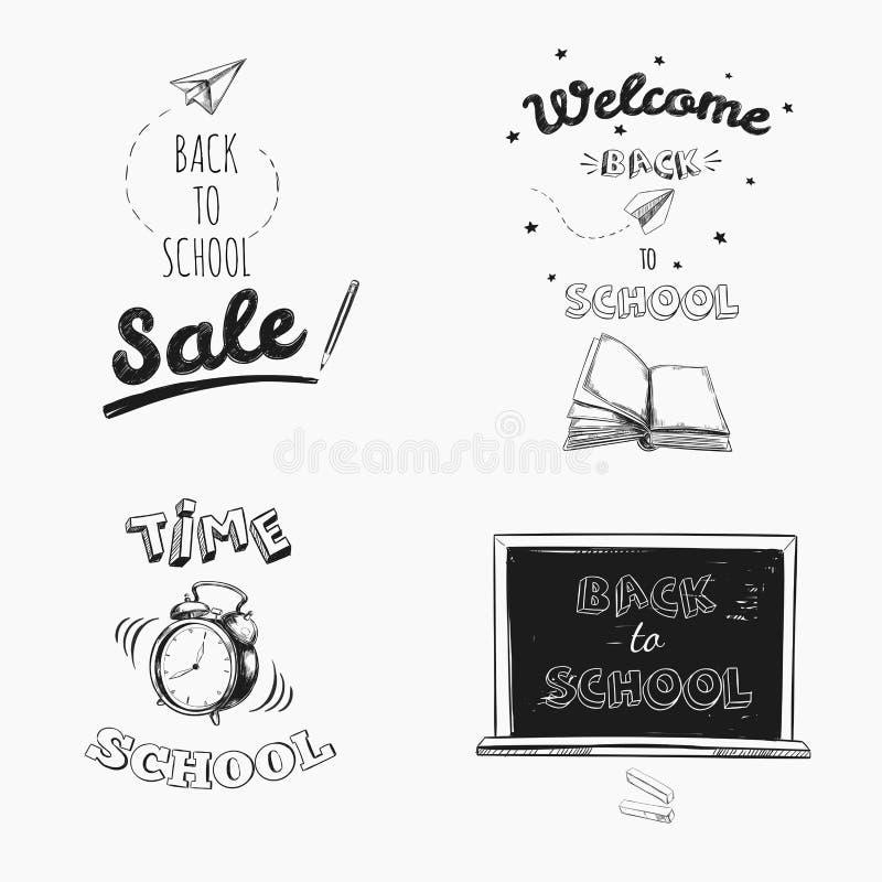 回到学校销售黑板字法 传染媒介手拉的印刷术 库存例证