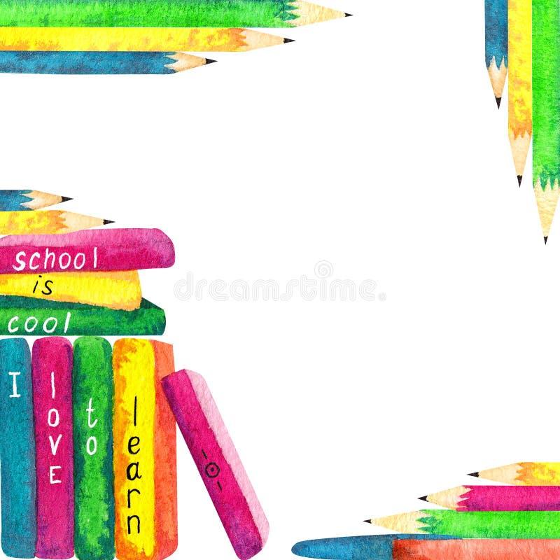 回到学校题材,水彩元素框架 皇族释放例证