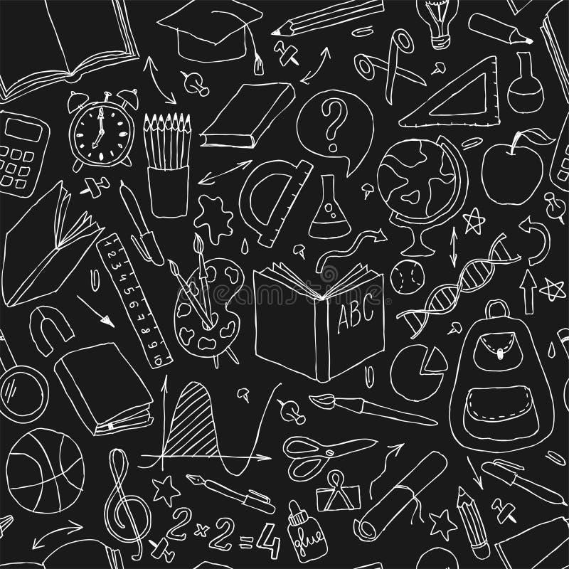回到学校黑白乱画手凹道无缝的传染媒介样式 有益于织物设计、包装纸和websit 皇族释放例证
