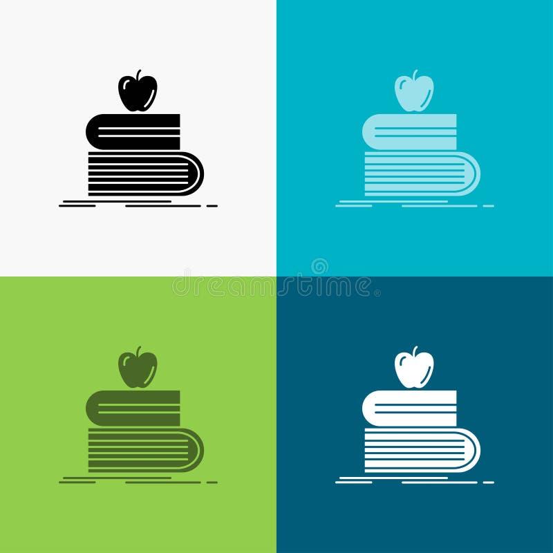 回到学校,学校,学生,书,在各种各样的背景的苹果象 r 10 eps 库存例证