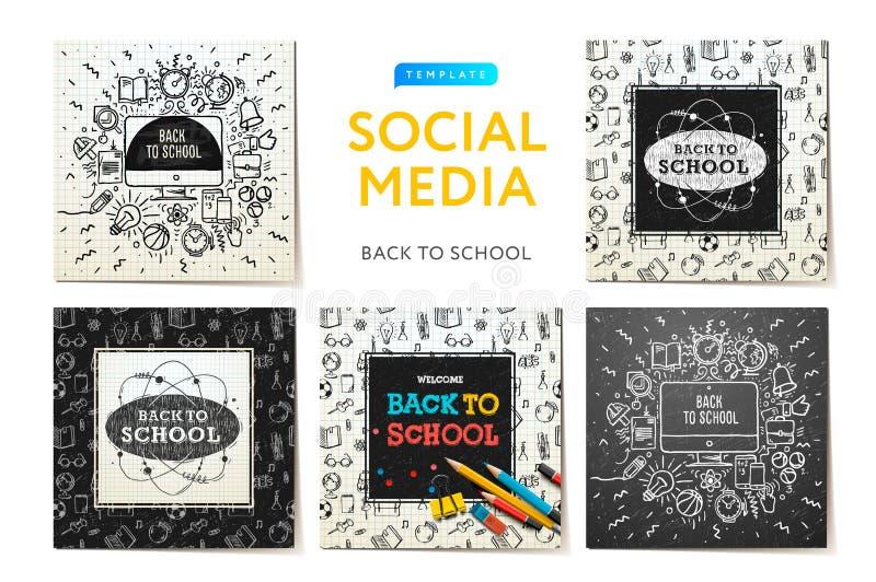 回到学校,教育和学会的社会媒介模板 与字法的概略笔记本乱画 现代促进 向量例证