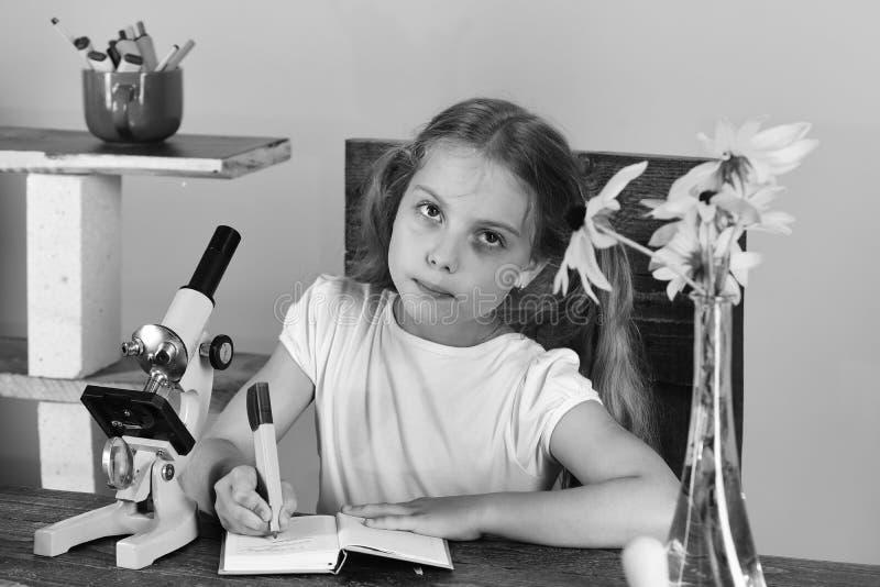 回到学校,自然秀丽概念 有疲乏的面孔的女孩 免版税库存照片