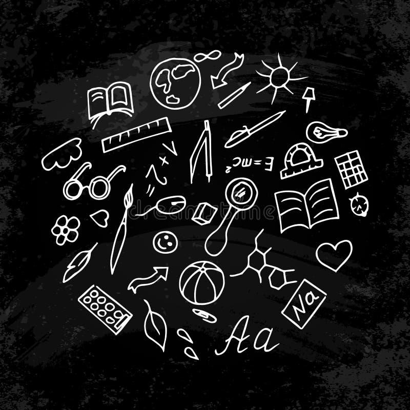 回到学校 一套与学校和研究标志的手图画 背景-黑粉笔板 向量例证