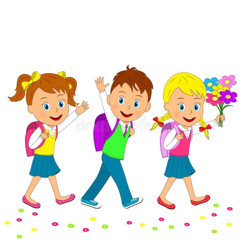 回到学校 上学的男孩和女孩 皇族释放例证