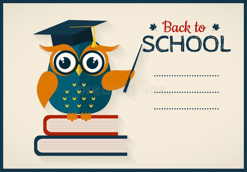 回到学校 与博学的猫头鹰的卡片和文本的一个地方 库存例证