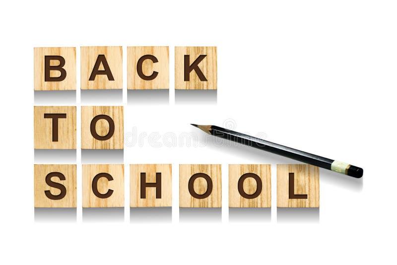 回到学校 从字母表的题字在立方体 奶油被装载的饼干 查出 库存照片