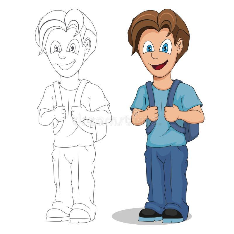 回到学校 动画片男生 学生手图画有背包的 学校哄骗概念 制服的愉快的小学生 皇族释放例证