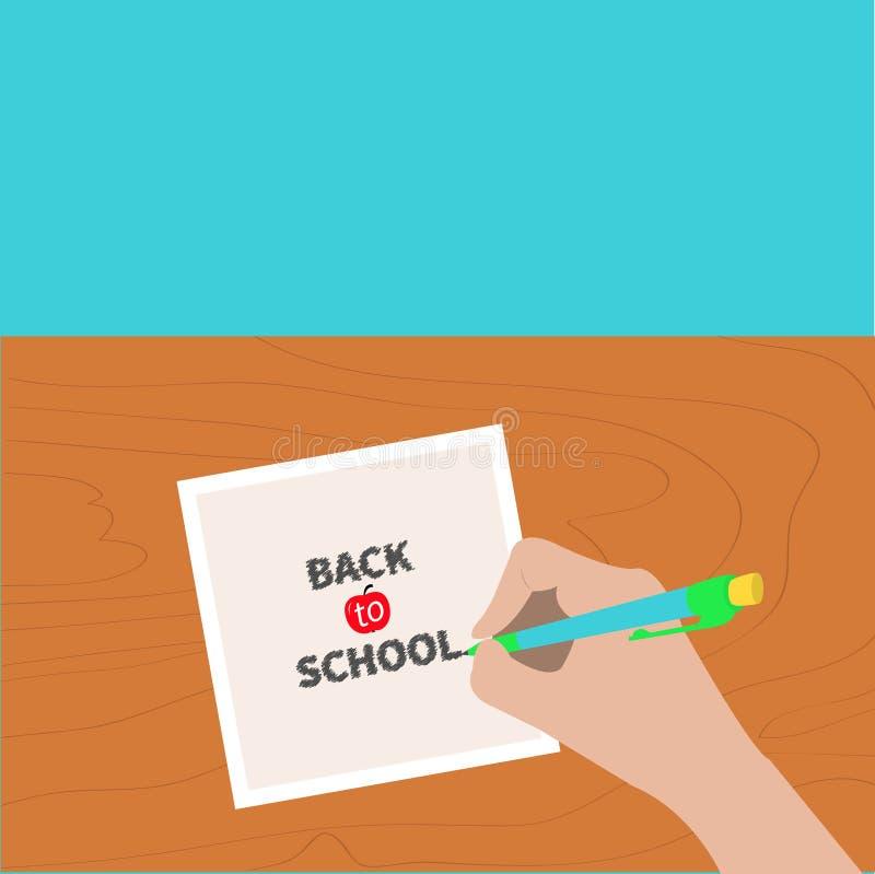回到学校贺卡白垩文本 手文字画图铅笔 拿着铅笔的女孩 设计例证您纸张的页 木书桌桌 机体新娘穿戴了袜带行程部s白色 向量例证