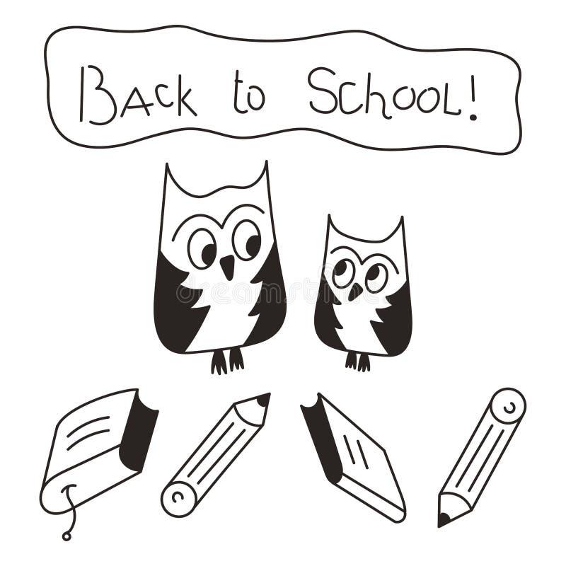 回到学校-字法 明智和年轻猫头鹰、书和铅笔 向量例证