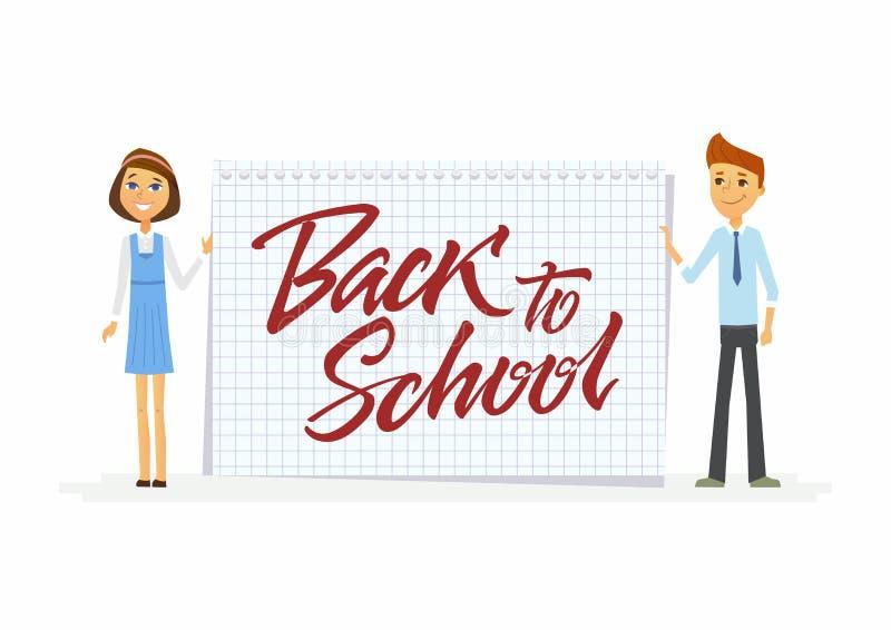 回到学校-愉快的学生字符有书法字法的 向量例证