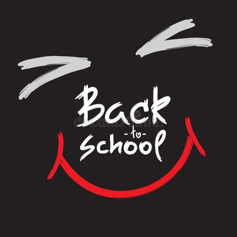 回到学校-手写的愉快的面孔 为富启示性的海报, T恤杉,袋子,杯子打印 皇族释放例证