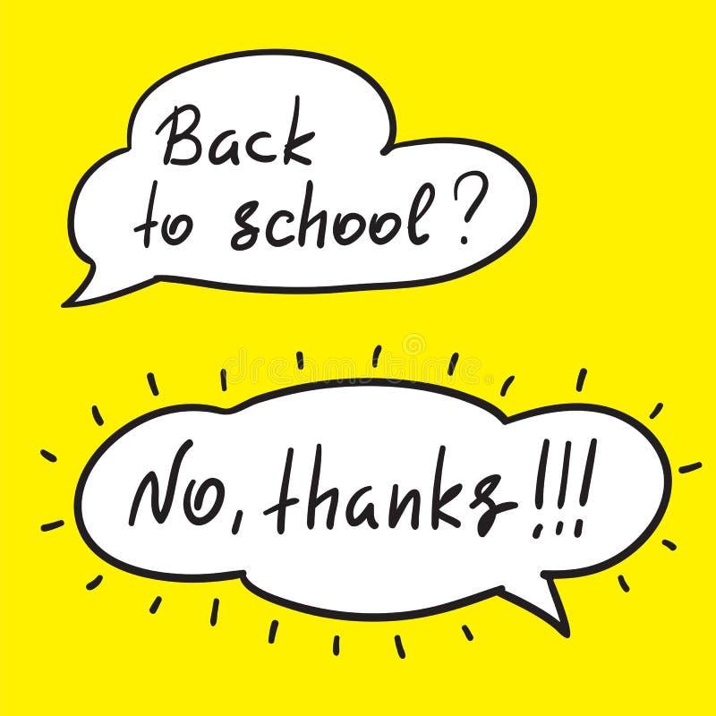 回到学校-手写的滑稽的反诱导行情 与手写的交谈的讲话泡影 学校海报的印刷品 皇族释放例证