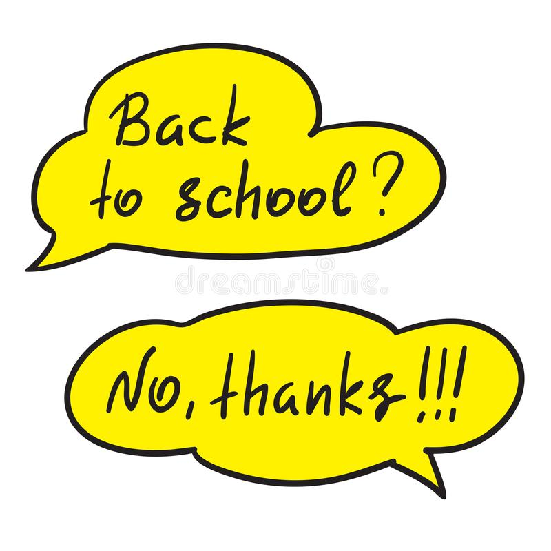 回到学校-手写的滑稽的反诱导行情 与手写的交谈的讲话泡影 库存例证