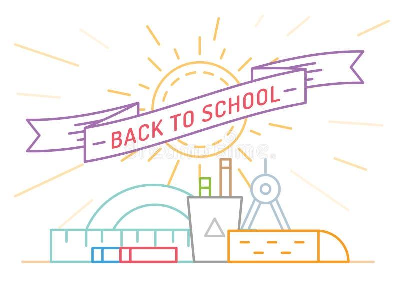 回到学校 教育,书,大学和 皇族释放例证