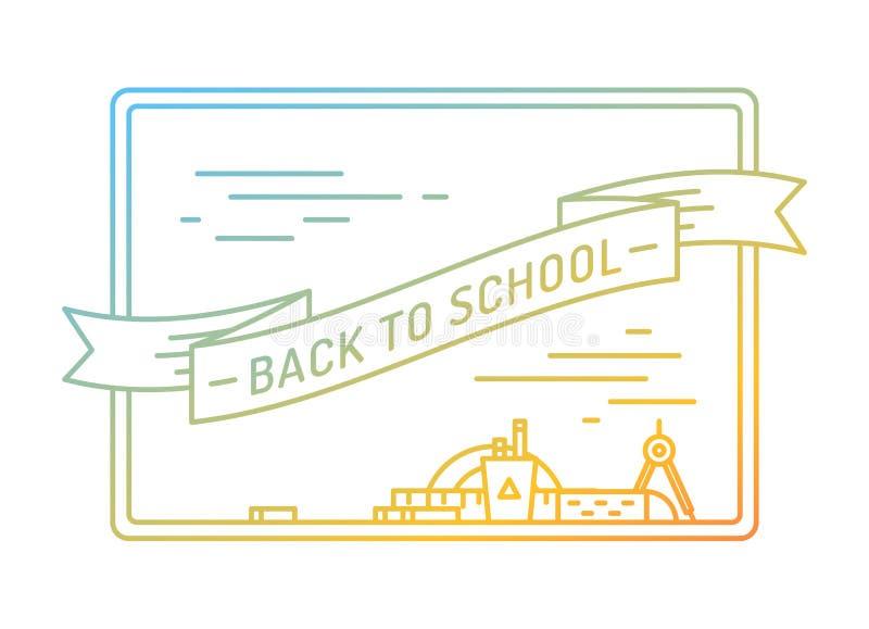 回到学校 教育,书,大学和 库存例证