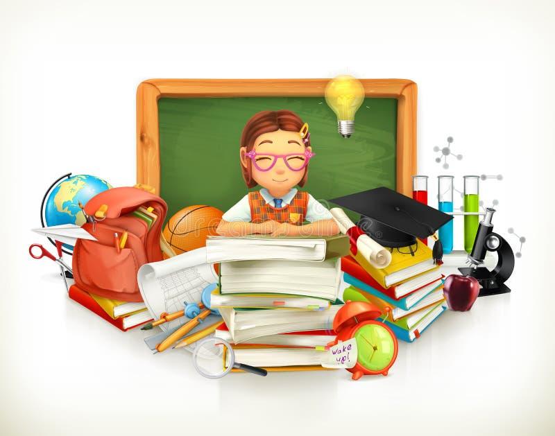 回到学校 教育 3d向量 皇族释放例证