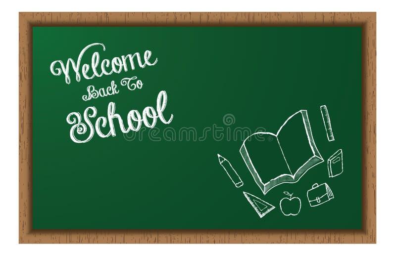 回到学校黑板的欢迎有乱画的 向量例证