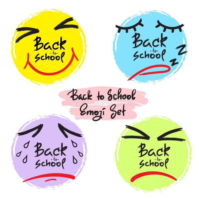 回到学校-滑稽的emoji集合 色的情感面孔的汇集:喜悦,愤怒,悲伤,睡意 库存例证