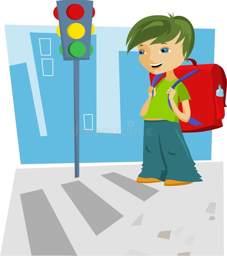 回到学校-男孩 向量例证