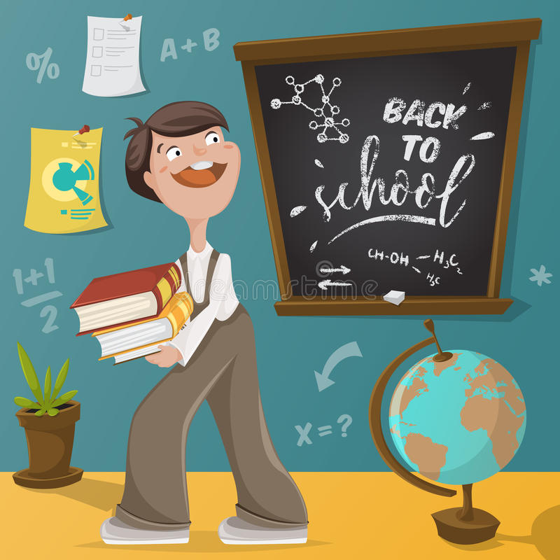 回到学校 男小学生、黑板和学校用品 库存例证