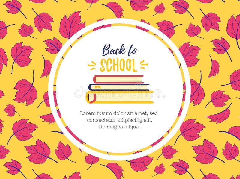 回到学校 知识的标志和学习书 堆课本 设计在秋天地方教育局颜色背景templated  库存例证