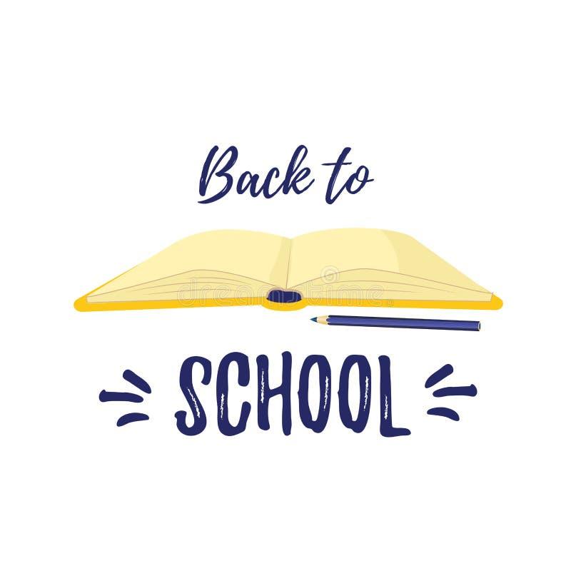 回到学校 知识的标志和学习书 打开课本 向量例证
