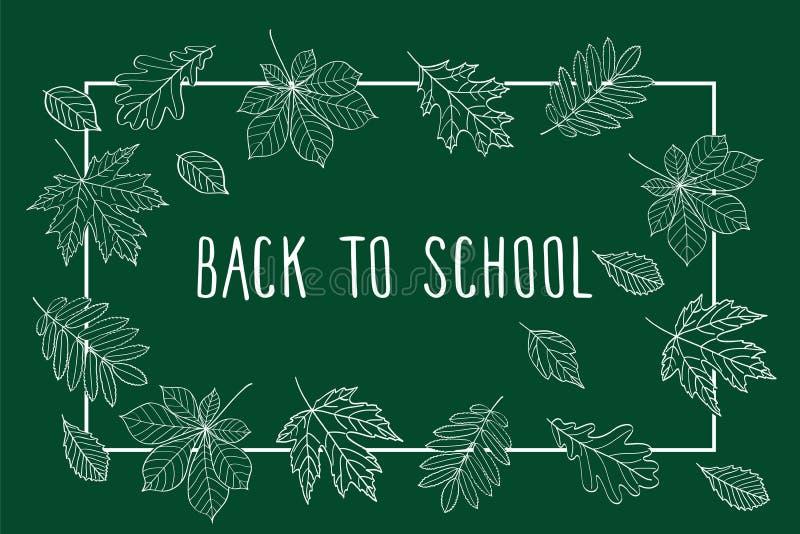 回到学校 秋叶画与在深绿黑板的白垩 库存例证