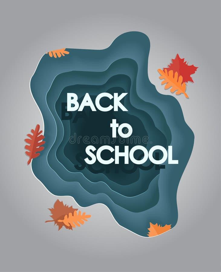 回到学校-纸裁减传染媒介例证 9月1日在工艺样式的卡片 知识日 皇族释放例证