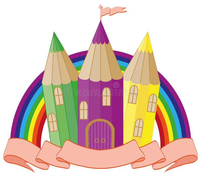 回到学校 美妙的学校城堡 库存例证