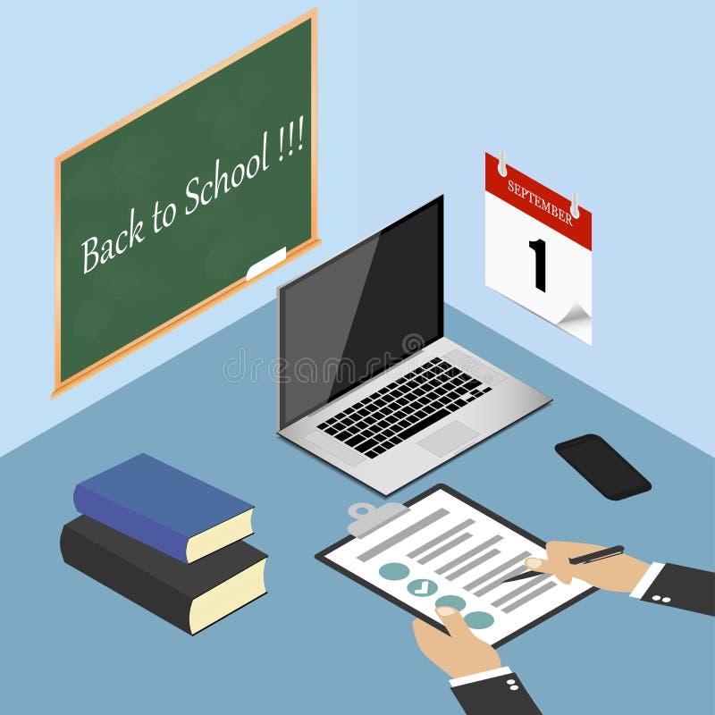 回到学校 膝上型计算机、手机、书、清单、剪贴板和笔在桌面,工作台上 在墙壁上的日历 传染媒介illu 向量例证