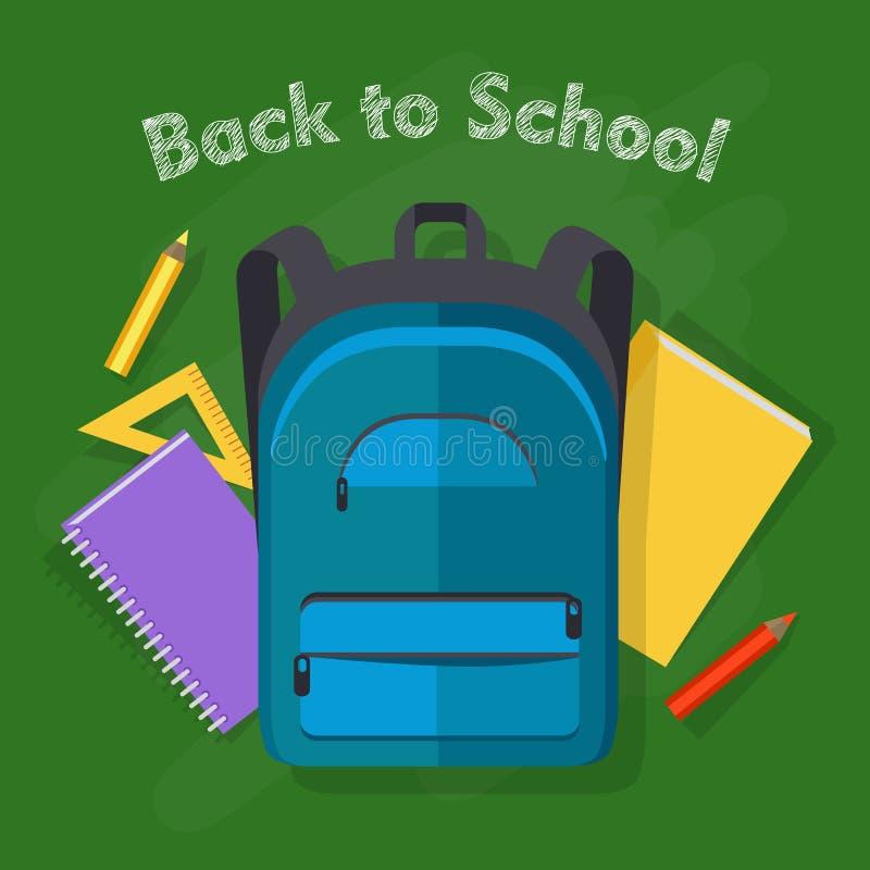 回到学校 蓝色背包 象办公室汤用品的夹子 库存例证
