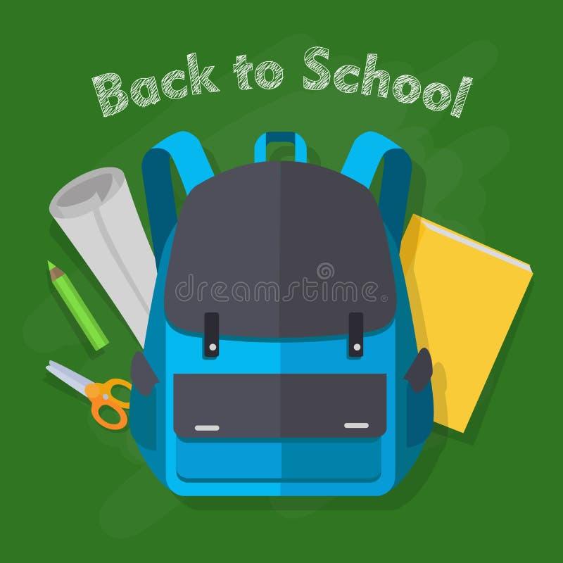 回到学校 蓝色背包 象办公室汤用品的夹子 皇族释放例证