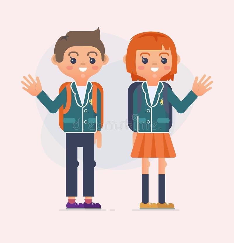 回到孩子的学校例证 风格化书少年被画 向量例证