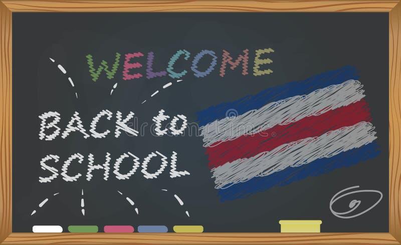 回到有学习和童年概念的学校 与题字的横幅与回到学校和肋前缘的白垩欢迎 皇族释放例证