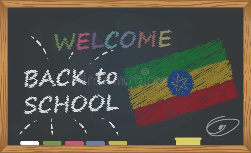 回到有学习和童年概念的学校 与题字的横幅与回到学校和Ethio的白垩欢迎 库存例证