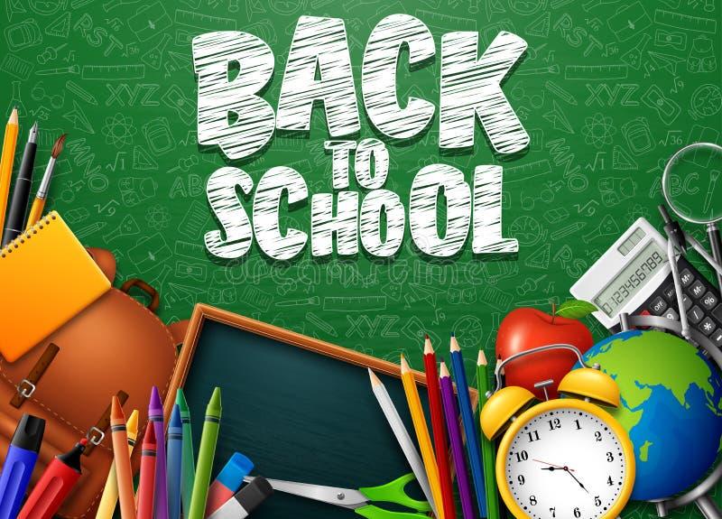回到有学校用品和乱画的学校在绿色黑板背景 皇族释放例证