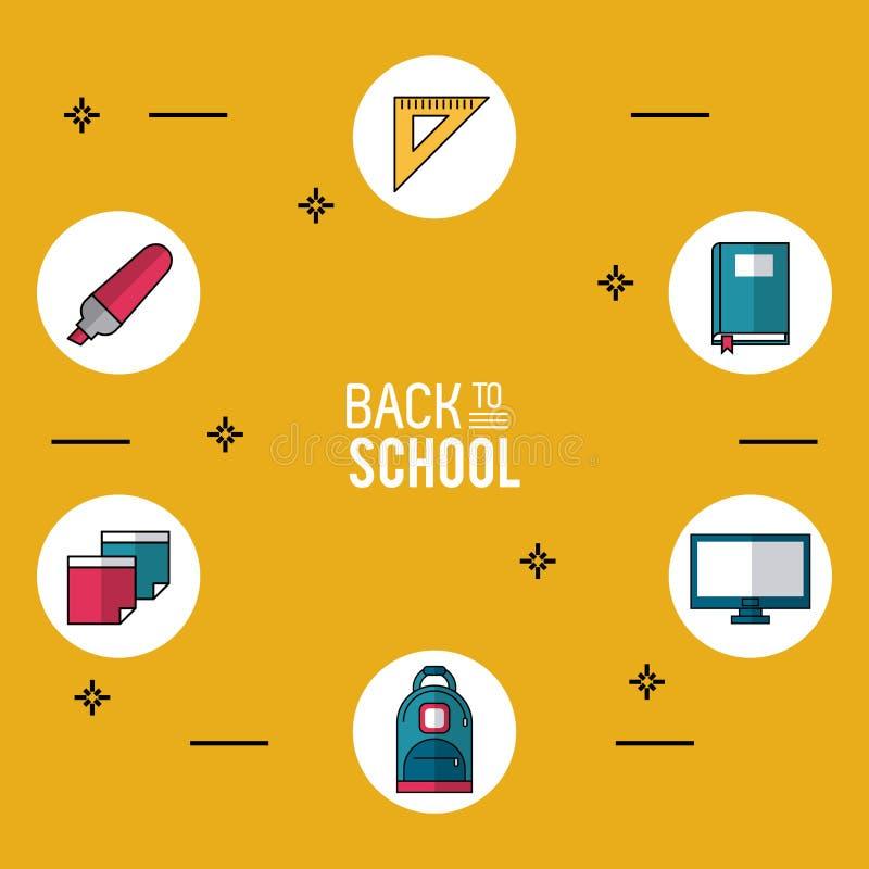 回到有根本学校象的学校黄色背景海报在圆的框架 向量例证