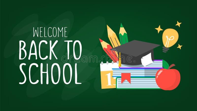 回到校旗的欢迎 五颜六色的学校用品 向量例证