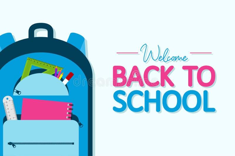 回到校旗 有学校用品和教育项目的背包 卡片9月1日 ?? 库存例证