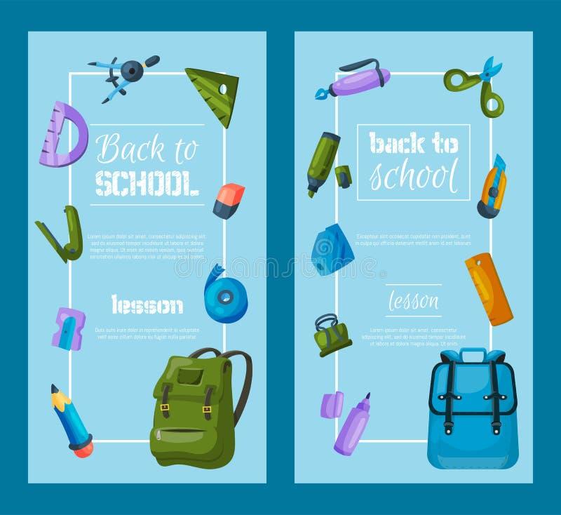 回到横幅学校被设置 孩子有教育设备传染媒介例证的学校背包 接近的指南针分度器学校用品 向量例证