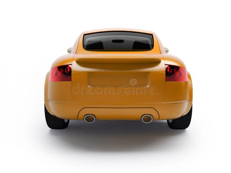 回到汽车现代视图黄色 库存例证