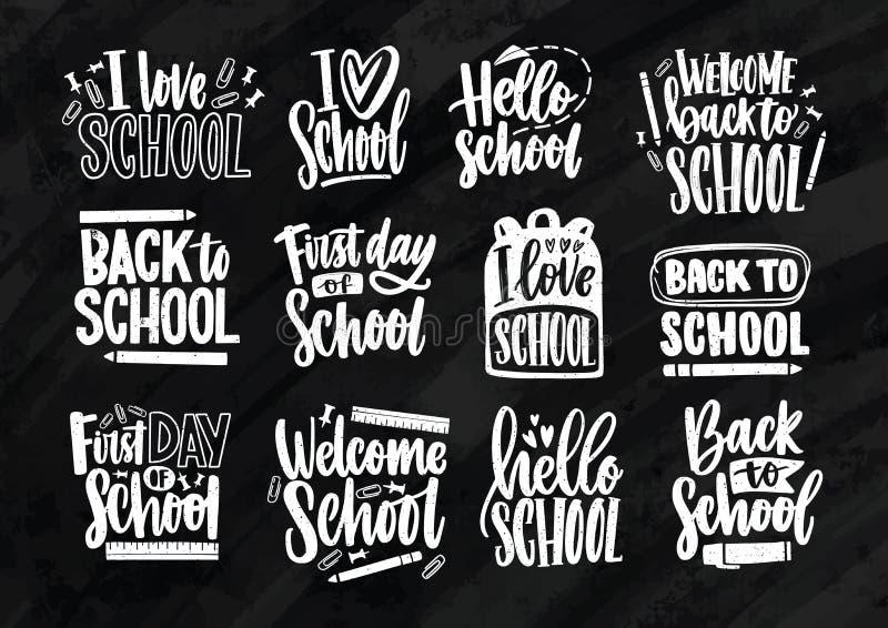 回到用固定式写与典雅的书法字体和装饰的学校字法的汇集 套  向量例证