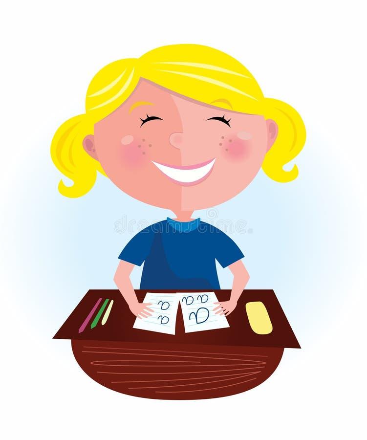 回到白肤金发的教室女孩头发愉快的&# 向量例证