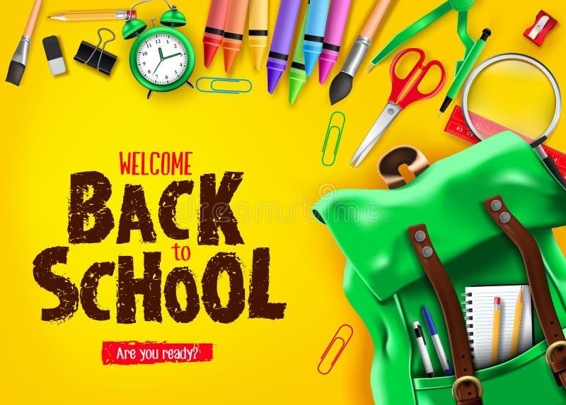 回到白色背景横幅的学校与蓝色背包和学校用品 向量例证